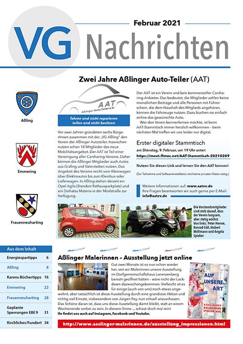 Titelbild VG-Nachrichten Februar 2021 - 2 Jahre AAT Aßling und Anlieger Malerinnen stellen online aus