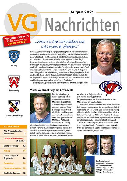 Titelseite VGN 08/2021 Verabschiedung Erwin Mehl - Willkommen Viktor Wahlandt